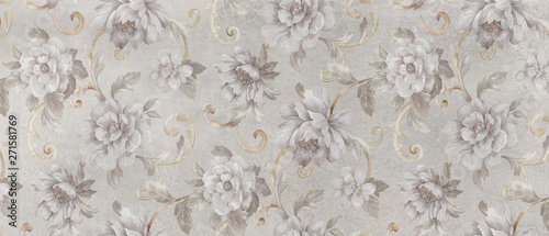 Foto auf AluDibond Vintage Blumen digital colorful wall tile design for washroom and kitchen
