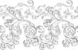 canvas print picture - Baroque renaissance monogram floral ornament, leaf scroll engraving retro floral pattern decorative design filigree calligraphic heraldic branch on white background.