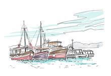 Vector Sketch Illustration European Croatia Ships Vacation Cruise