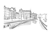Vector Sketch Illustration European City Stockholm Center Sweden