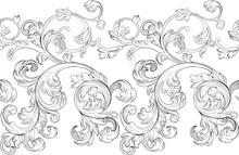Baroque Renaissance Monogram Floral Ornament, Leaf Scroll Engraving Retro Floral Pattern Decorative Design Filigree Calligraphic Heraldic Branch On White Background.