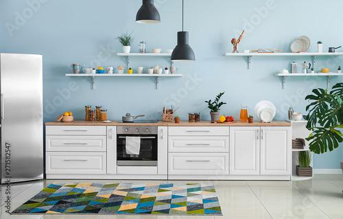 Photo Interior of modern comfortable kitchen