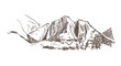 mountains rock view vector sketch landscape line illustration skyline