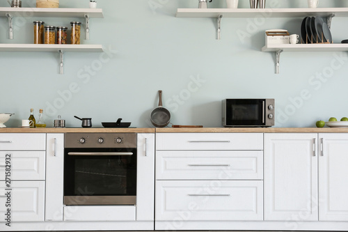 Photo Interior of kitchen with modern oven