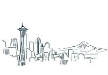 Seattle USA City Sketch Vector Illustration Line Art