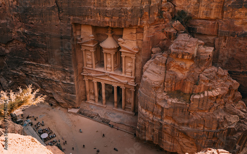 Beautiful landscape view Al Khazneh - the treasury, ancient city of Petra, Jordan Poster Mural XXL