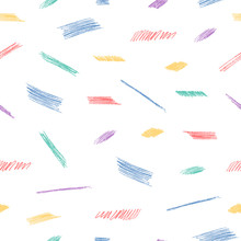Colorful Seamless Pattern With Scandinavian Pencil Scribbles. Vector Isolated Background For Kid Textile.
