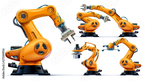 Leinwand Poster Automated orange robotic arms or industry 3d manipulator positioner Isolated on white background