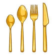 Vector Cartoon Color Set Of Golden Cutlery. Knife, Fork, Spoon, Tea-spoon