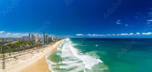 Fényképezés  Surfers Paradise beach from aerial drone perspective, Gold Coast, Queensland, Au