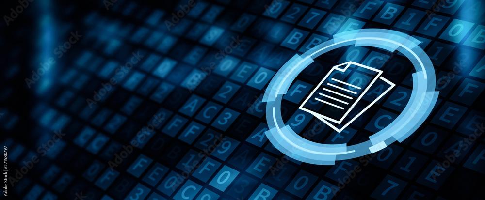 Fototapeta Document Management Data System Business Internet Concept