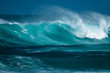 canvas print picture - Powerfull wave of the North Shore of Oahu, Hawaii
