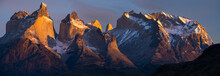 Torres Del Paine National Park With Snow Capped Mountains (Cordillera Paine) At Sunrise. Chile