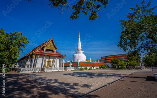 Great ancient Pagoda in Wat Mahathat temple, Nakhon Si Thammarat ,Southern of Thailand