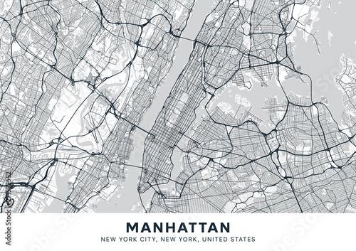 Manhattan map. Light poster with map of Manhattan borough ...