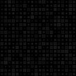 Black squares seamless pattern. Squares of random size. Cool seamless background. Vector illustration.
