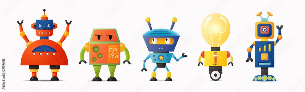 Fototapeta Set of cute vector robot characters for kids