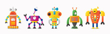 Set Of Cute Vector Robot Or Mo...
