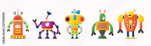 Foto Set of cute vector robot or monster characters for kids