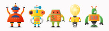 Set Of Cute Vector Robot Characters For Kids. Future Robotics And Artificial Intelligence