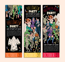 Halloween Costume Party Invitation Flyers. Vector Illustration.