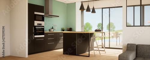 vue 3d cuisine avec îlot central et meuble noir plus ...