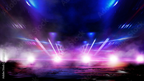 Empty street scene background with abstract spotlights light. Night view of street light reflected on water. Rays through the fog. Smoke, fog, wet asphalt with reflection of lights. Blue and pink neon - 271607315