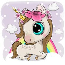 Cute Cartoon Unicorn On Clouds