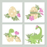 Fototapeta Dinusie - Cute cards with dinosaurs and its egg.