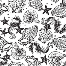 Black And White Vector Seahorse, Starfish And Seashell Seamless Pattern Background.