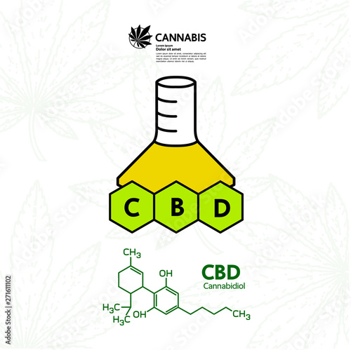 Cannabis for medical vector illustration. Canvas Print