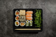 Fresh Asian Sushi Box On The Table