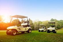 Golf Cart On Fairway In Golf Course.