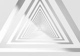 Fototapeta Perspektywa 3d - Abstract white triangular tunnel 3d