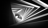 Fototapeta Perspektywa 3d - Abstract twisted black white tunnel