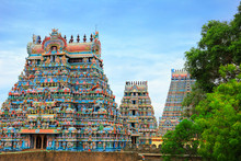 Beautiful Gopuras In The Hindu Jambukeswarar Temple In Trichy (Tiruchirapalli), Tamil Nadu, South India