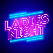 Vector Illustration Ladies Night Neon Banner