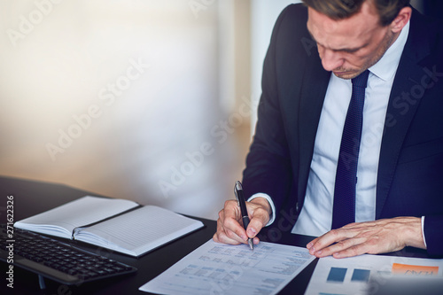 Garden Poster Businessman sitting at his office desk looking over documents