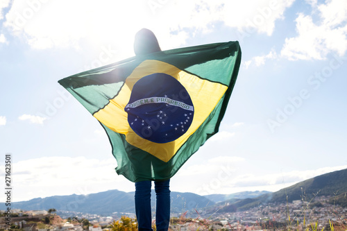 Garden Poster Brazil Woman with brazilian flag, independence day