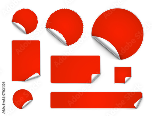 Obraz Set of curled stickers isolated on white background. Vector illustration. It can be use for price, promo, adv and etc. - fototapety do salonu