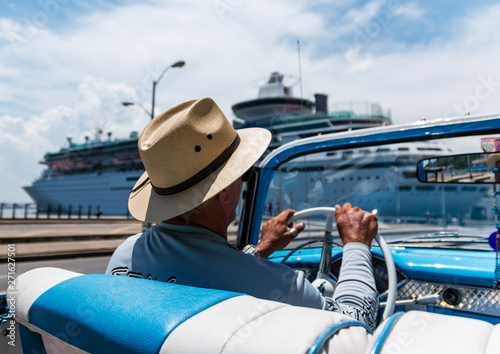 Recess Fitting Havana Convertibile taxi in Havana Cuba passing cruise ship