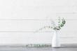 Leinwanddruck Bild - eucalyptus twigs in  vase on white background