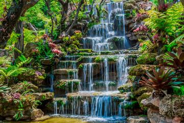 Fototapeta Wodospad Beautiful waterfall background, summer Thailand, Asian