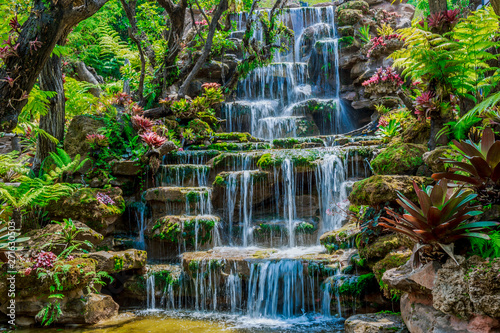 Beautiful waterfall background, summer Thailand, Asian