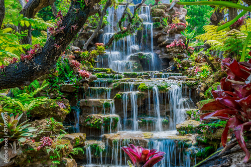 Photo sur Toile Cascades Beautiful waterfall background, summer Thailand, Asian