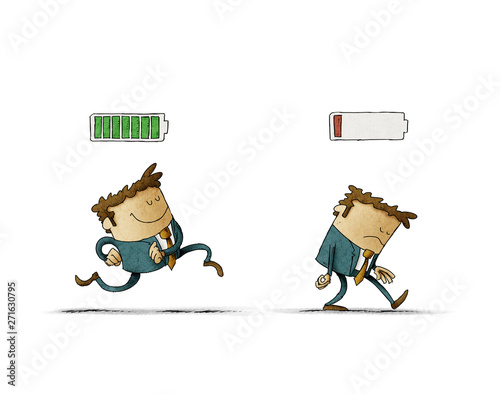 Cheerful businessman with high full level energy battery green and tired businessman with low battery red color. Business concept. Illustration isolated - 271630795