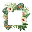 Leinwanddruck Bild - Frame made of beautiful tropical leaves and flowers on white background, top view. Space for text