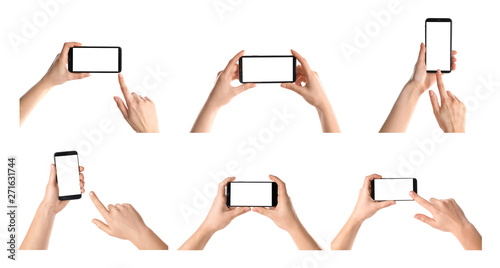 Fotografía  Set with people holding smartphones on white background, closeup of hands