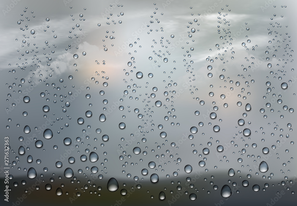 Realistic raindrop on the transparent window. Vector