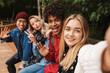 Leinwandbild Motiv Group if cheerful multiethnic friends teenagers